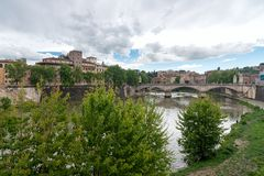 Sant`Angelo castel - Tevere river - Rome - Italy. View of Sant`Angelo castel - Tevere river - Rome - Italy royalty free stock photography