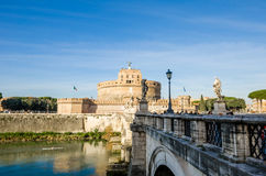 Sant Angelo Castel und die Aelius-Brücke Lizenzfreie Stockfotografie