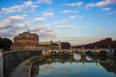 Sant'Angelo Castle and Bridge. A beautiful view of Sant'Angelo Castle and Bridge in Rome Stock Photo