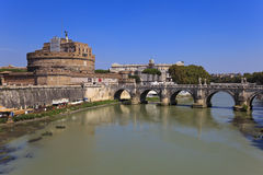 Sant Angelo Castle and Bridge in Rome, Italia. Stock Photo