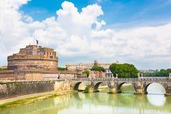 Sant Angelo Castle and Bridge in Rome, Italia. Royalty Free Stock Photos