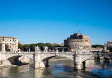 Sant Angelo Castle and Bridge in Rome Royalty Free Stock Photo