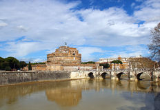 Sant'Angelo Castle and Bridge in Rome, Italy Royalty Free Stock Photos