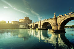 Sant Angelo Castle and Bridge in sunset time, Rome. Italia Stock Images