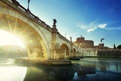Sant Angelo Castle and Bridge in sunset time. Rome, Italia Stock Image