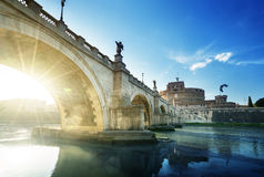 Sant Angelo Castle and Bridge in sunset time, Rome Stock Photography