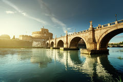 Sant Angelo Castle and Bridge in sunset time. Rome, Italia Stock Photo