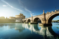 Sant Angelo Castle and Bridge in sunset time Stock Image