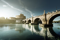 Sant Angelo Castle and Bridge in sunset time. Rome, Italia Royalty Free Stock Photo