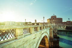 Sant Angelo Castle and Bridge in sunset time Royalty Free Stock Photos