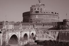 Sant Angelo Castle and Bridge in the Vatican City Royalty Free Stock Photos