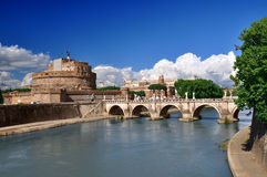 Sant' Angelo Castle and front bridge Stock Photos