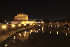 Sant Angelo castle at night, Rome, Italy Royalty Free Stock Image