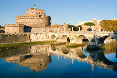 Sant'Angelo castle in Rome. The fortress of Sant'Angelo and its reflection in river Tevere, Rome Stock Photo