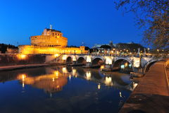 Sant Angelo castle, Rome, Tevere river at night. Night view over the Tevere river and the Sant'Angelo castle and bridge Royalty Free Stock Images