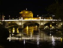 Sant Angelo castle and Tiber in Rome Royalty Free Stock Photography