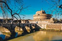 Sant-` Angelo Castle und Sant-` Angelo-Brücke in Rom, Italien, Lizenzfreie Stockbilder