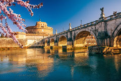 Sant`Angelo fortress, Rome. Saint Angel Castle and bridge over the Tiber river in Rome Royalty Free Stock Photography