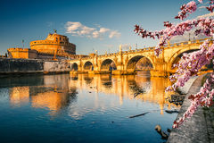 Sant`Angelo fortress at spring, Rome Stock Images