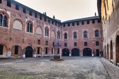 Sant`Angelo Lodigiano Italy: medieval castle. Sant`Angelo Lodigiano Lodi, Lombardy, Italy: the medieval castle, the courtyard Stock Photo