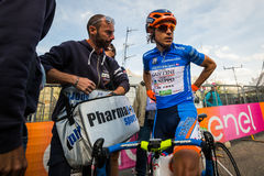 Sant Anna, Italy May 28, 2016; Damiano Cunego, Nippo Vini Fantini Team, in blue jersey Royalty Free Stock Photography