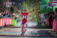 Sant Anna, Italy May 28, 2016; Rein Taaramae, Katusha  team, exhausted passes the finish line and Win a hard mountain stage Stock Photo