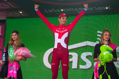 Sant Anna, Italy May 28, 2016; Rein Taaramae, Katusha  team, on the podium after winning a hard mountain stage Stock Photography