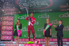 Sant Anna, Italy May 28, 2016; Rein Taaramae, Katusha  team, on the podium after winning a hard mountain stage Royalty Free Stock Photography