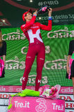 Sant Anna, Italy May 28, 2016; Rein Taaramae, Katusha  team, on the podium after winning a hard mountain stage Stock Images