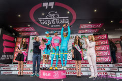 Sant Anna, Italy May 28, 2016; Some Riders of Astana team  on the podium after winning the award for best team Royalty Free Stock Photo