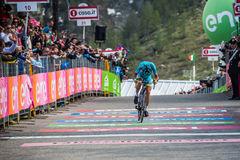 Sant Anna, Italy May 28, 2016; Vincenzo Nibali, Astana team, exhausted passes the finish line after a hard mountain stag Stock Photos