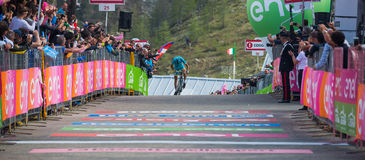 Sant Anna, Italy May 28, 2016; Vincenzo Nibali, Astana team, exhausted passes the finish line after a hard mountain stag Royalty Free Stock Photography