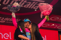 Sant Anna, Italy May 28, 2016; Vincenzo Nibali, Astana team, in pink jersey  on the podium. After winning the general classification the Tour of Italy 2016 Stock Image