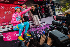 Sant Anna, Italy May 28, 2016; Vincenzo Nibali, Astana team, in pink jersey  on the podium Stock Photography