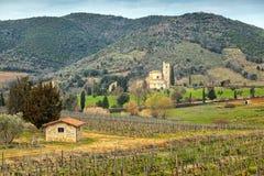 Sant Antimo Abbey cerca de Montalcino, Toscana, Italia Foto de archivo libre de regalías