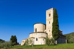 Sant ` Antimo Abbey i Kreta Senesi, Italien Fotografering för Bildbyråer