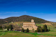 Sant'Antimo Abbey i Val D'Orcia Arkivfoto