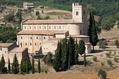 Sant Antimo Abbey nära Montalcino i Tuscany, Royaltyfri Foto