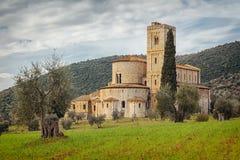 Sant Antimo Abbey nära Montalcino, Tuscany, Italien Royaltyfria Foton