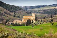 Sant Antimo Abbey nära Montalcino, Tuscany, Italien Arkivfoton