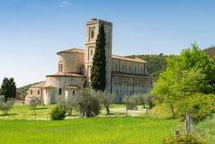 Sant'Antimo Abbey, Toscana - Italia Imágenes de archivo libres de regalías