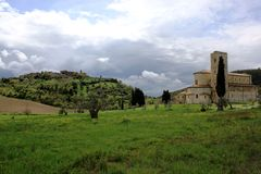 Sant' Antimo abbey, Tuscany landscape royalty free stock photo