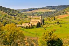 Sant Antimo Abtei, Toskana Stockfoto