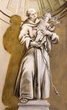 Sant'Antonio dell'affresco di Padova dalla cappella nel palazzo di Anton del san da Anton Schmidt a partire dagli anni 1750 - 175 Fotografie Stock