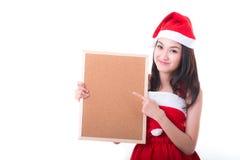 Sant Asian girl holding blank banner Stock Photos