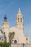 Sant Bartomeu i Santa Tecla church at Sitges, Spain Stock Images