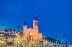 Sant Bartomeu i Santa Tecla church at Sitges, Spain Stock Images