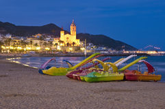 Sant Bartomeu i Santa Tecla dans Sitges, Espagne image stock