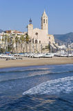 Sant Bartomeu i Santa Tecla at Sitges, Spain Royalty Free Stock Image