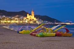 Sant Bartomeu mig Santa Tecla i Sitges, Spanien Fotografering för Bildbyråer